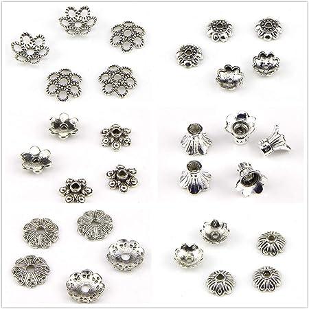Tibetan silver heart patterns hollow beads fit bracelet h5104 5pcs