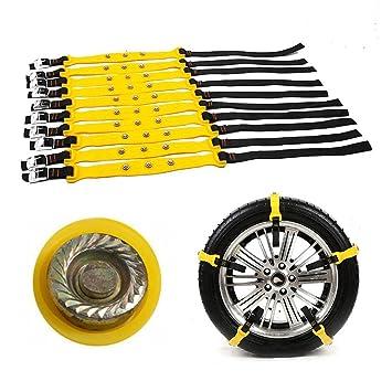 Folconroad Cadenas de Nieve Antideslizantes para neumáticos Ajustables de Emergencia, para la Mayoría de Coches, SUV, Camiones, 10 Unidades: Amazon.es: ...