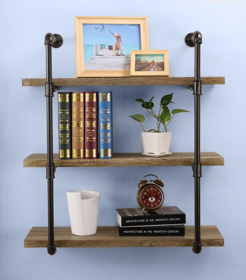O&K Furniture 31-Inch Industrial Pipe Bookshelves Home Organizer Storage , 3-Tiers Rustic Urban Style Metal Wall Mounted Ledge Shelf, Vintage Green