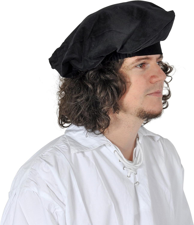 Ropa medieval - Boina medieval de terciopelo - negro: Amazon.es: Juguetes y juegos