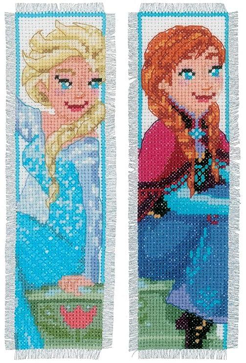 Vervaco – Kit para cojín de Punto de Cruz Kit de Punto de Cruz: marcadores: Frozen – Sisters Forever (Set de 2), Varios, Juego de 2