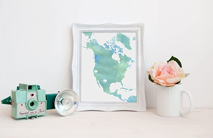 Map Of Canada Usa And Mexico.Amazon Com North America Map Art Watercolor Series Hometown Wall