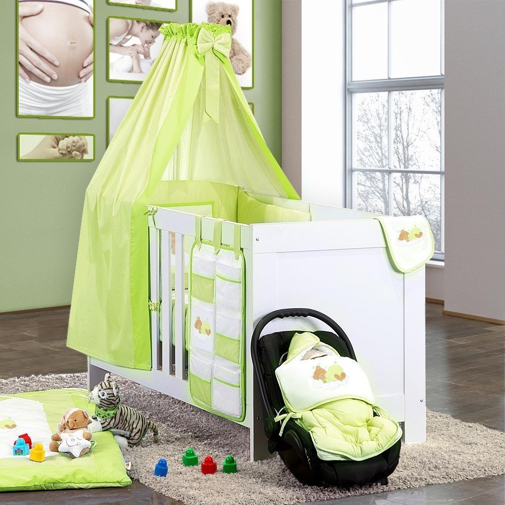7-tlg. Bettsetpaket Sleeping Bear in grün inkl. Fußsack und Lätzchen