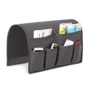 Joywell Sofa Armrest Organizer, Couch Arm Chair Caddy with with 6 Pockets for Magazine, Books, TV Remote Control, Cell Phone, iPad (Grey),