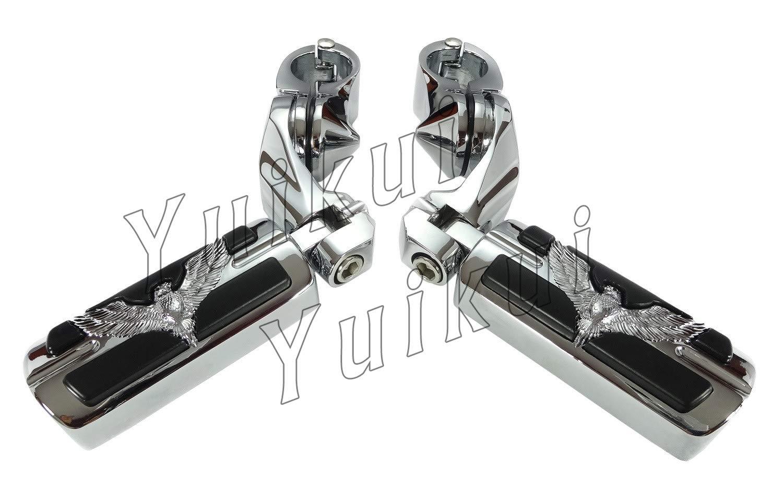YUIKUI RACING オートバイ汎用 1-1/4インチ/32mmエンジンガードのパイプ径に対応 イーグル男性マウント ハイウェイフットペグ タンデムペグ ステップ CAN-AM(モデル2008-2012年のを除く) All years等適用   B07PY1GBRX
