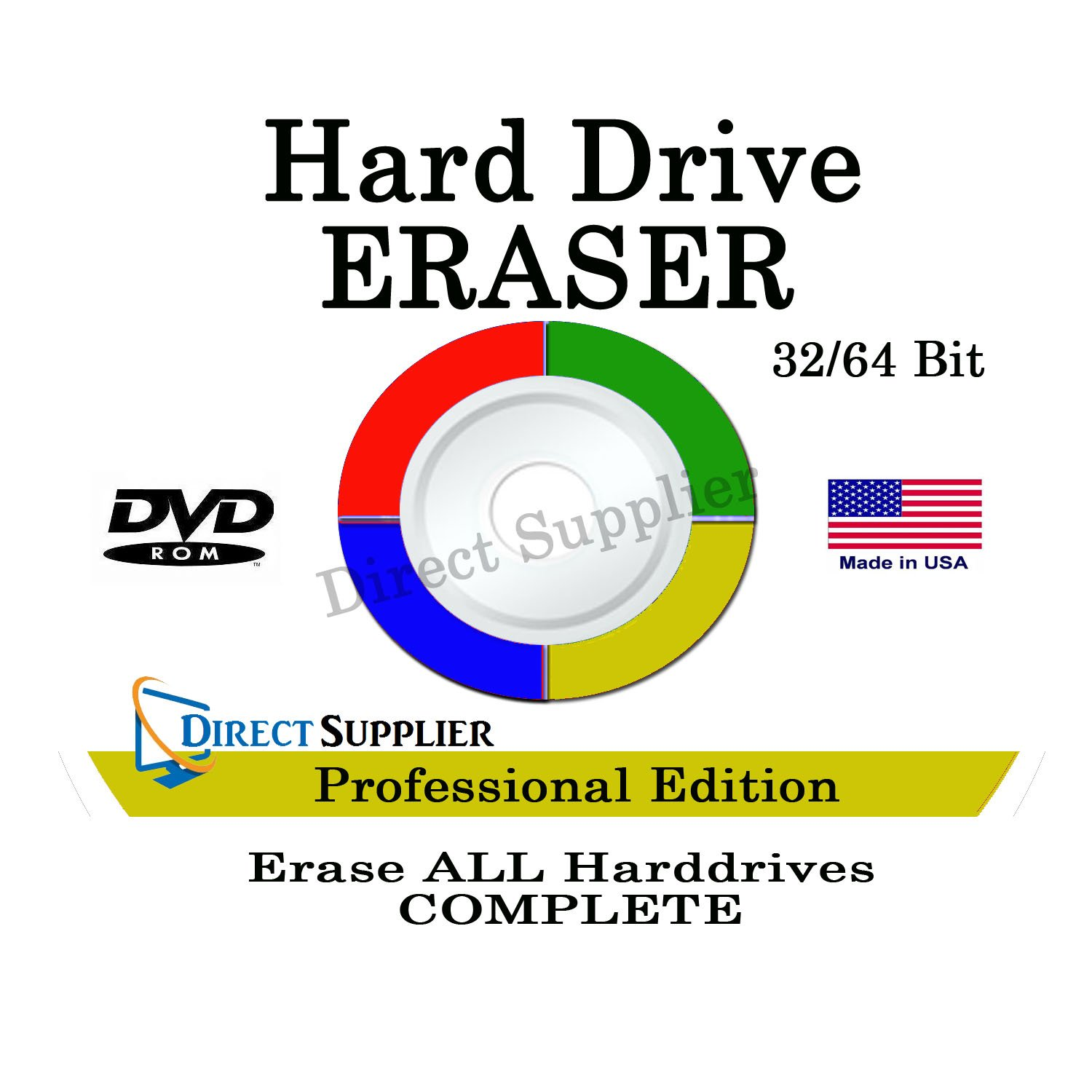 PROFESSIONAL HARD DRIVE ERASER 32/64Bit Professional Edition - Wipe your Hard Drive Securely for for ALL operating systems by Direct Supplier