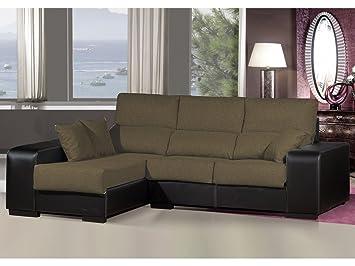 Sofa chaiselongue ,medida 275 Tapizado similpiel y tela (Marrón y Negro)