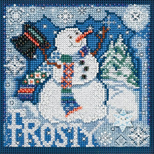 Mill Hill Frosty Snowman Winter Buttons and Beads Counted Cross Stitch Kit, 5 by 5-Inch