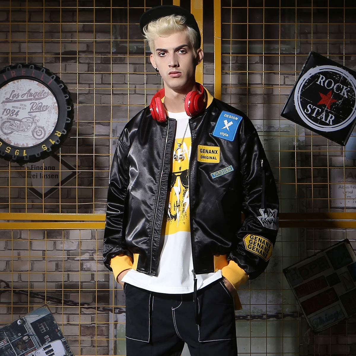 SXELODIE Pilot Jacket Herren Band Bestickte Kapitän Kragen