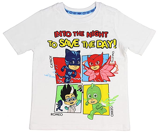 9e86c611 Amazon.com: Happy Threads PJ Masks Little Boys' Toddler Into The Night  Character T-Shirt (White, 2T): Clothing