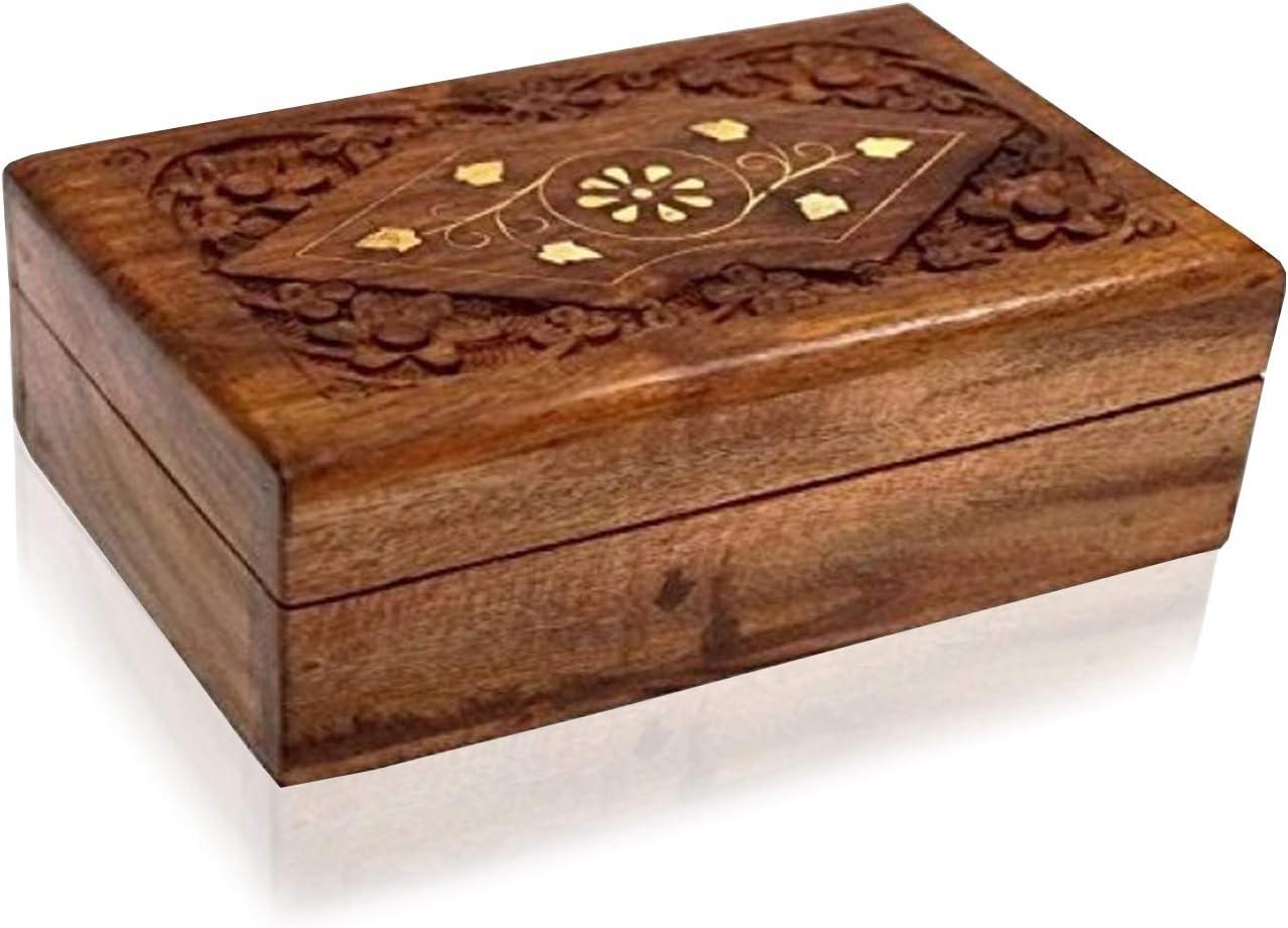 Amazon Com Wooden Jewelry Storage Box Trinket With Inlay Design Handmade Solid Brass Inlay Sheesham Wood Multipurpose Organizer Storage Case 6 X 4 X 2 Home Kitchen
