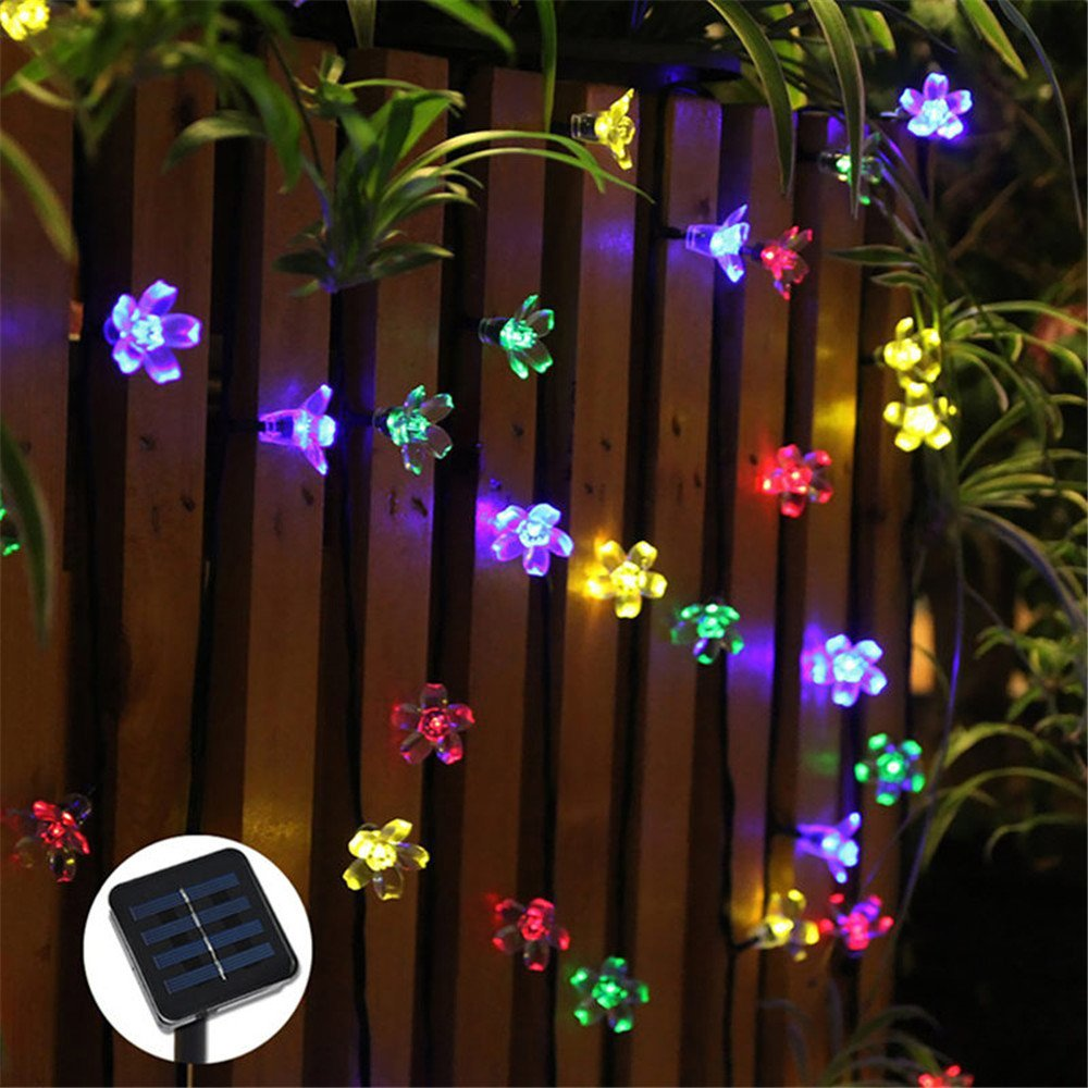 MIYA LTD Fairy Lights Solar Powered Outdoor,50 LED Solar Operated Outdoor Lighting Waterproof Christmas Fairy Lights for Xmas, Garden, Patio, Home, Yard, Party, Wedding - Colored Light