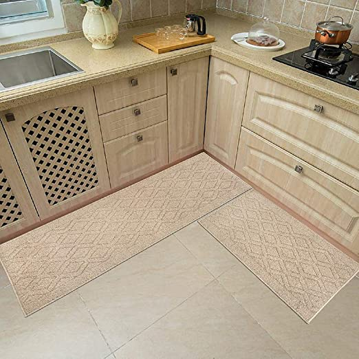 Amazon Com 48x20 Inch 30x20 Inch Kitchen Rug Mats Made Of 100 Polypropylene 2 Pieces Soft Kitchen Mat Specialized In Anti Slippery And Machine Washable Beige Kitchen Dining