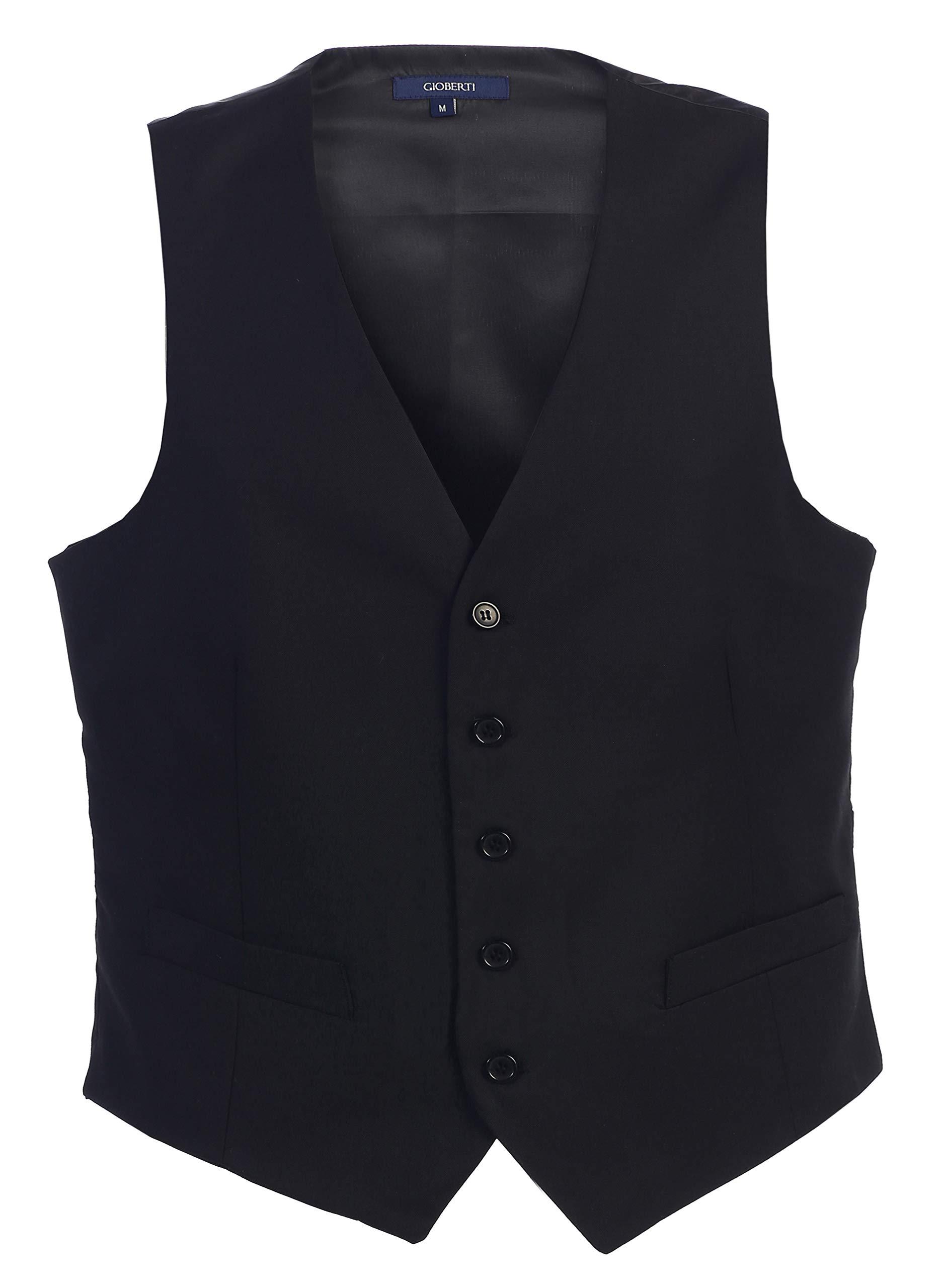 Gioberti Mens 5 Button Formal Suit Vest, Black, Large by Gioberti