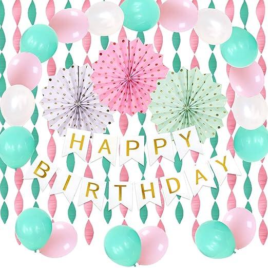Decoraciones para fiestas de cumpleaños en rosa menta con ...