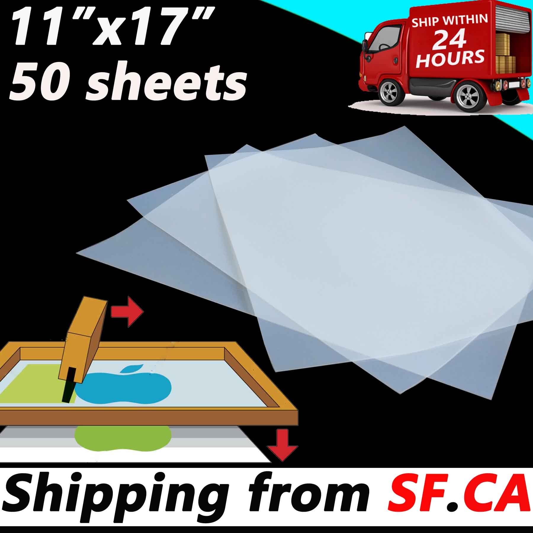 11'' x 17'',50 Sheets, Premium Waterproof Inkjet Instant Dry Transparency Film for Silk Screen Printing