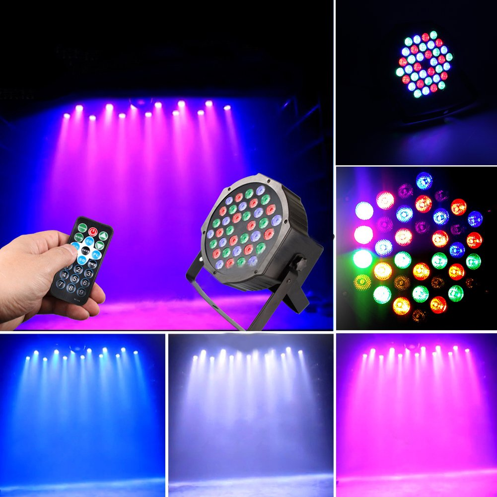 JUDYelc Par Lights with RGBW Celebration Lighting - Stage Flashing with 4 Work Models Super Bright Stage Lamp for DJ Club Wedding Family Party Disco (36 RC Leds)