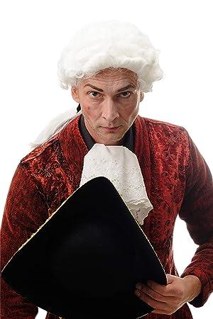 WIG ME UP ® - DH1126-P60 Peluca Halloween Hombre Noble Rey Oficial Barroco Corto Rizado Trenza Larga Blanco