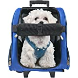 HARBO Pet Travel Carrier Rolling Backpack for Dogs Cats Small Animals Airline Travel Tote (Red, Blue)