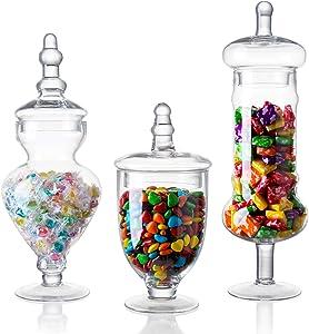 "Diamond Star Set of 3 Clear Glass Apothecary Jars, Decorative Weddings Candy Buffet Display Elegant Storage Jar (H: 9"", 12.5"", 14"")"