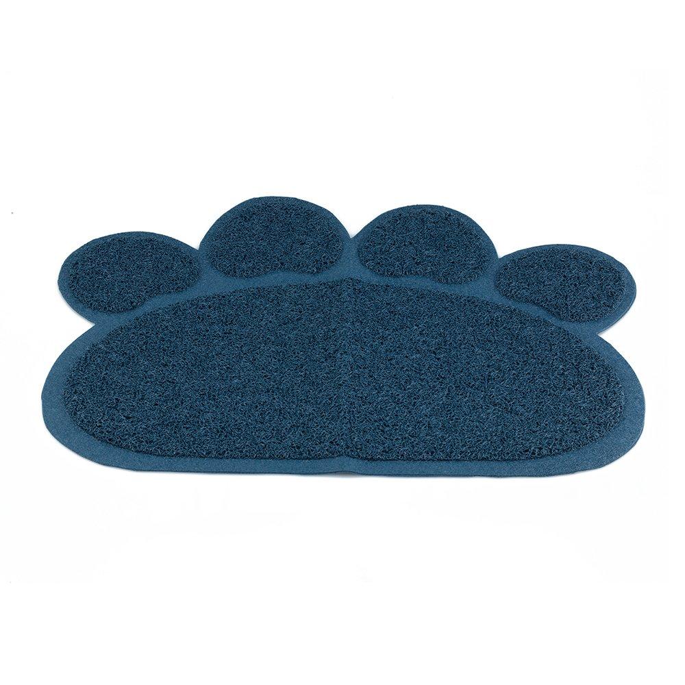 Cat Litter Box Mat, Dogs Pets Cats Food Feeding Bowl Mats, Foot Print Design,23.62''x17,72''(Dark Blue)
