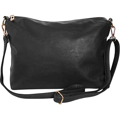 04acdc555f698 Humble Chic Crossbody Bag - Vegan Leather Satchel Messenger Handbag  Shoulder Purse, Black