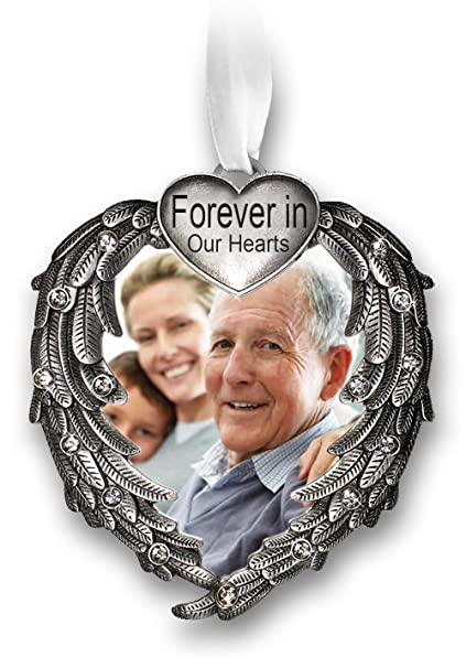 amazon com forever in our hearts christmas ornament silver heart