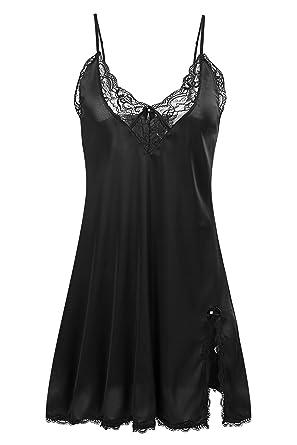 65f5412394b Ekouaer Sexy Lingerie Women s Sleepwear Satin Lace Chemise Nightgown ...