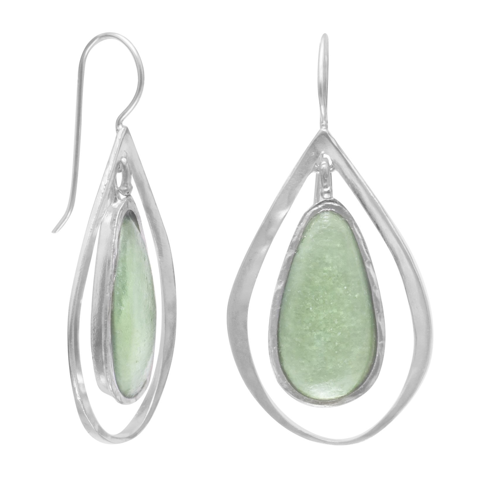 Ancient Roman Glass Sterling Silver Earrings on French Wire, 1-1/2 inch long