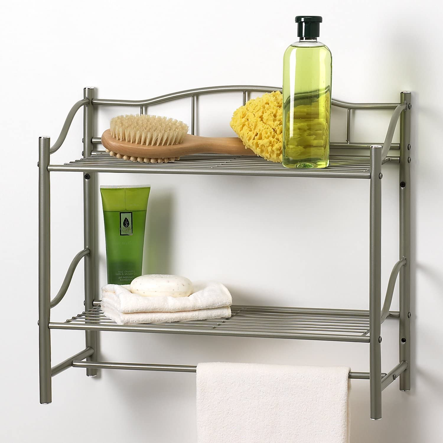 Creative Bath Products Complete Collection 2 Shelf Wall Organizer with Towel Bar, Pearl Nickel finish: Home & Kitchen