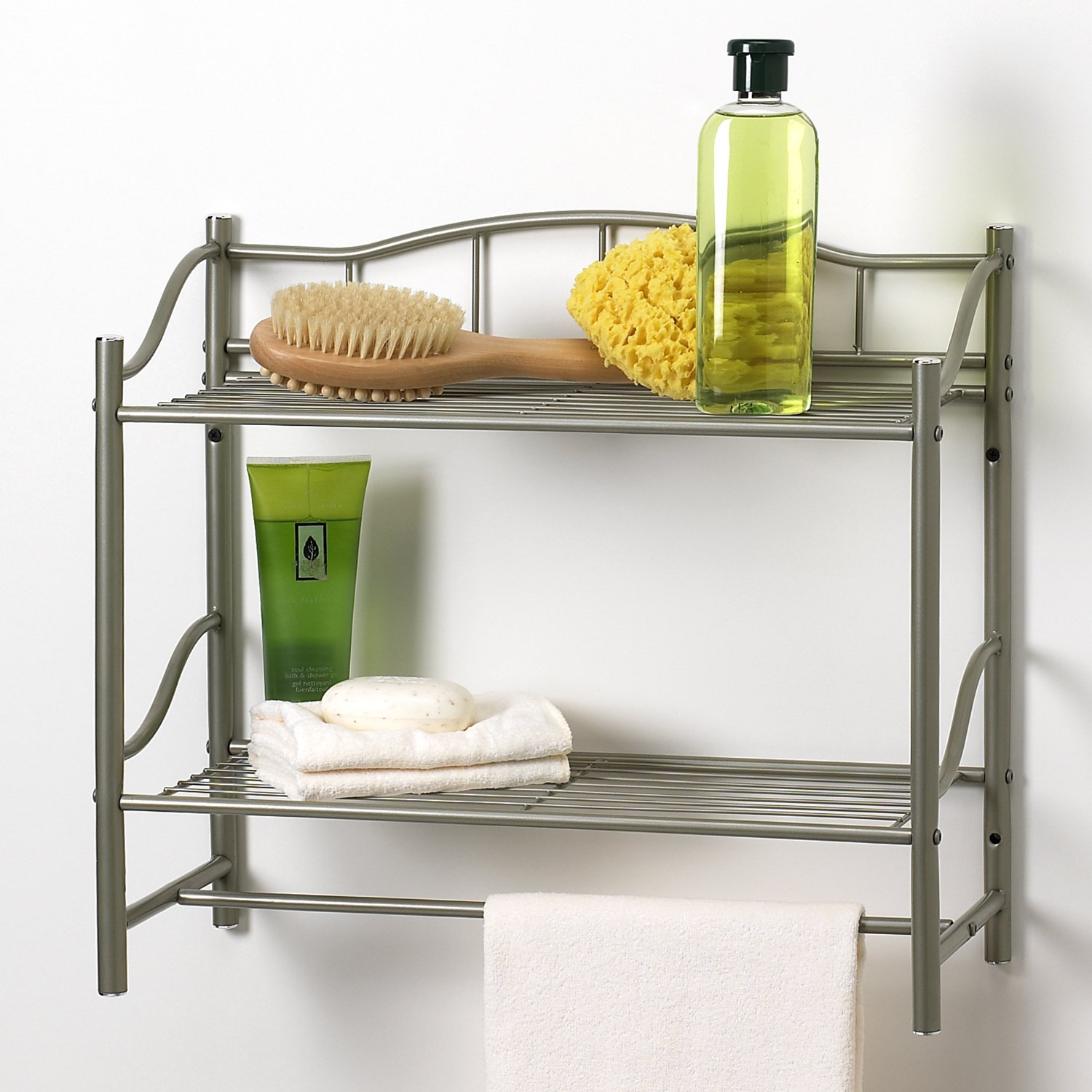 Creative Bath Products Complete Collection 2 Shelf Wall Organizer with Towel Bar, Pearl Nickel finish