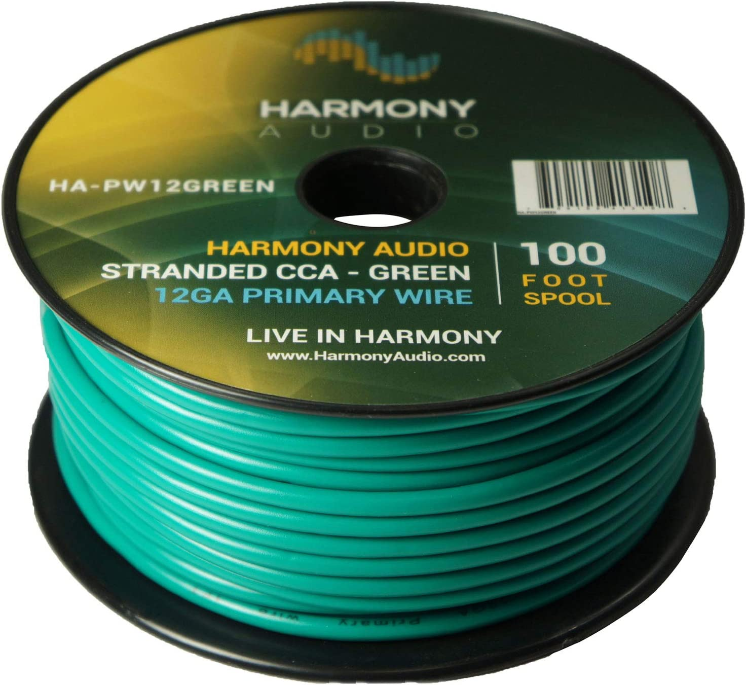 Harmony Audio Primary Single Conductor 12 Gauge Power or Ground Wire - 10 Rolls - 1000 Feet - Green & Orange for Car Audio/Trailer/Model Train/Remote