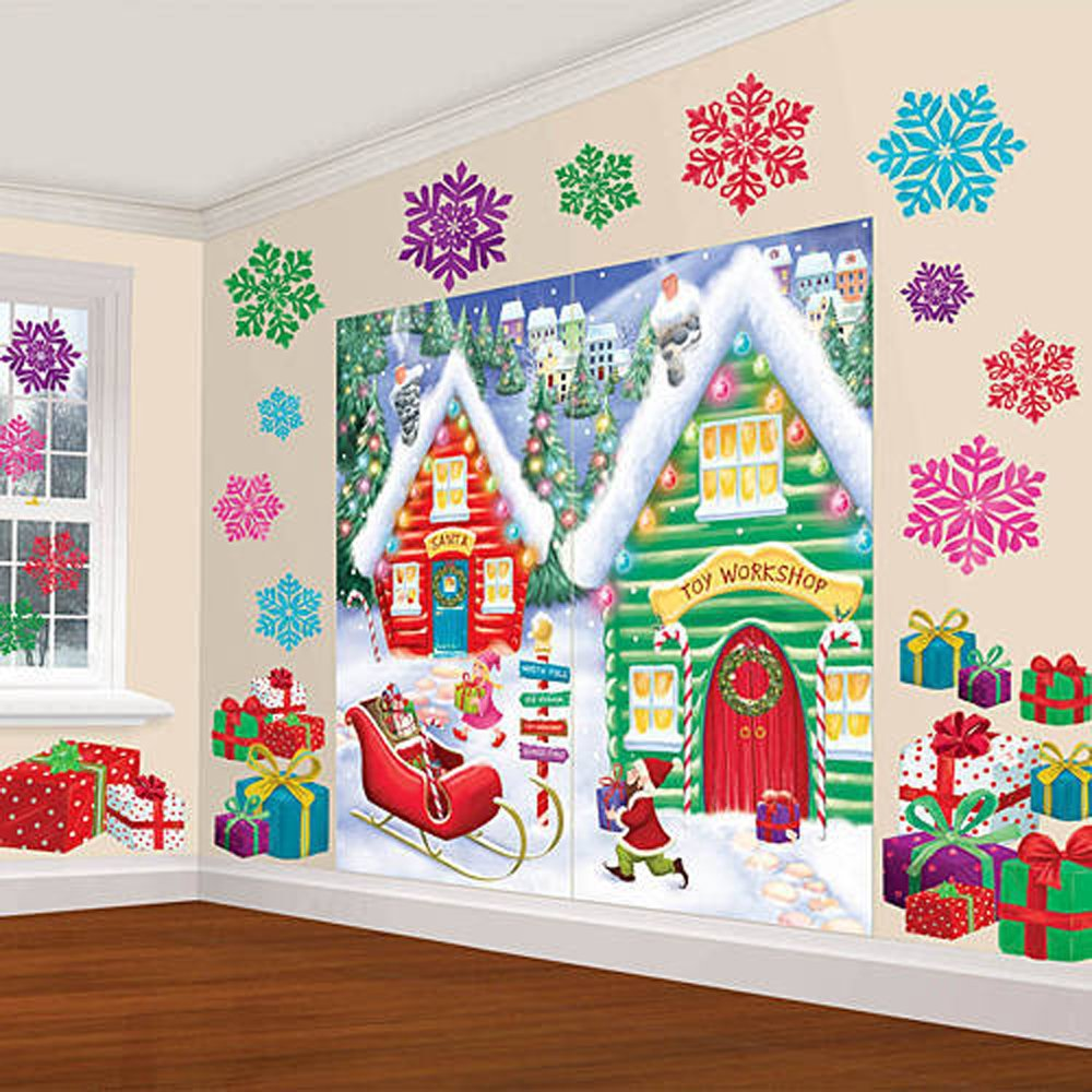 Amazon.com: Amscan Winter Wonderland Christmas Party North Pole Mega \Value  Scene Setters Wall Decorating Kit (pack Of 32), Multicolor, One Size: Toys  U0026 ...