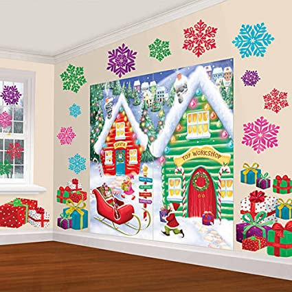 Amscan Winter Wonderland Christmas Party North Pole Mega Value Scene Setters Wall Decorating Kit