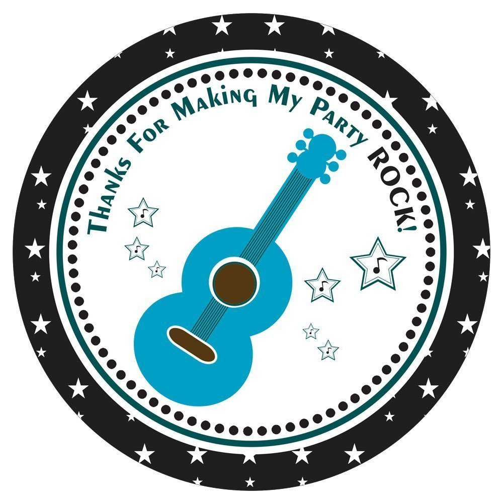 Blue Guitar Rock Star Stickers - Thanks for Making My Party Rock - Favor Labels - Set of 30