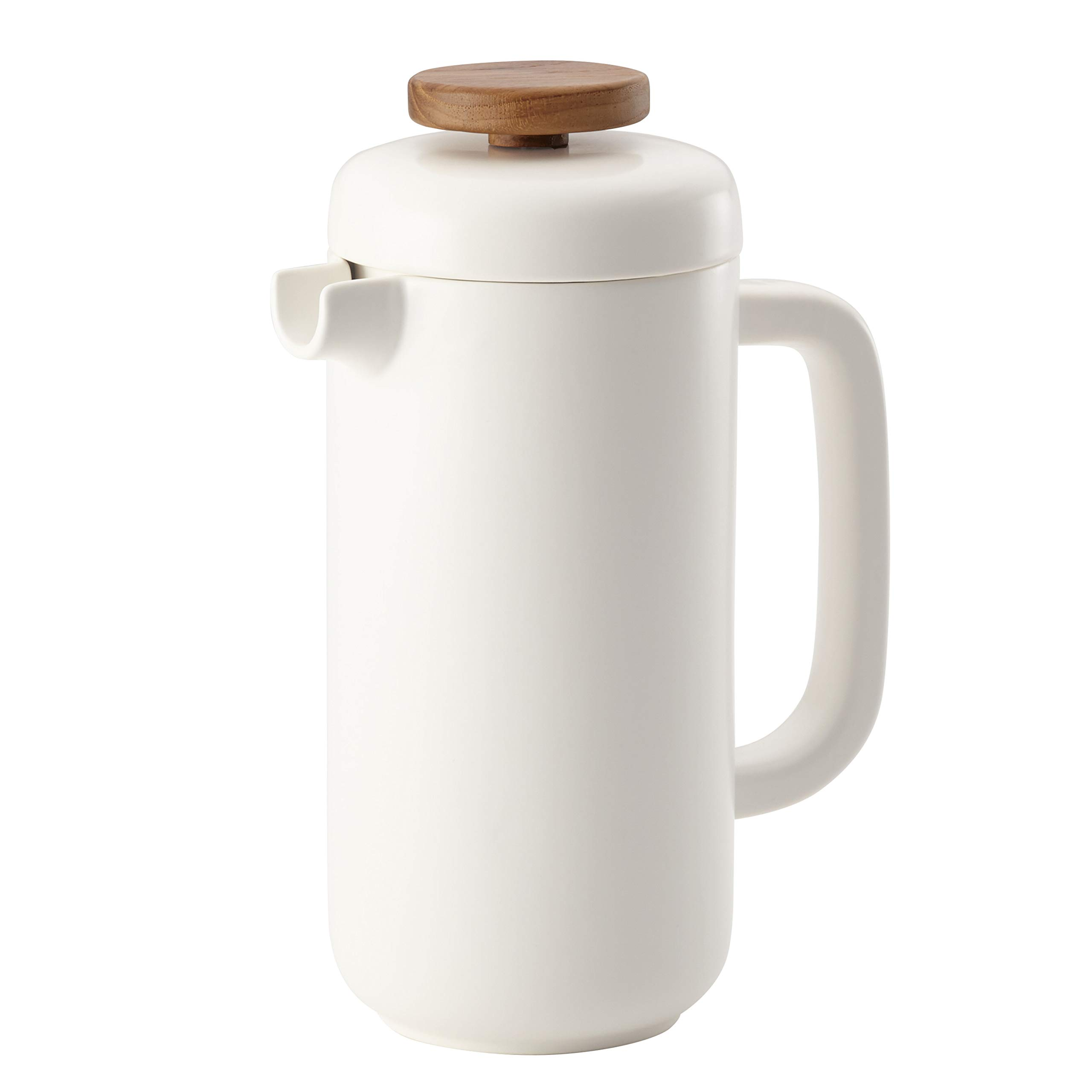 BonJour Ceramic Coffee and Tea 8-Demitasse-Cup Ceramic French Press, Matte White