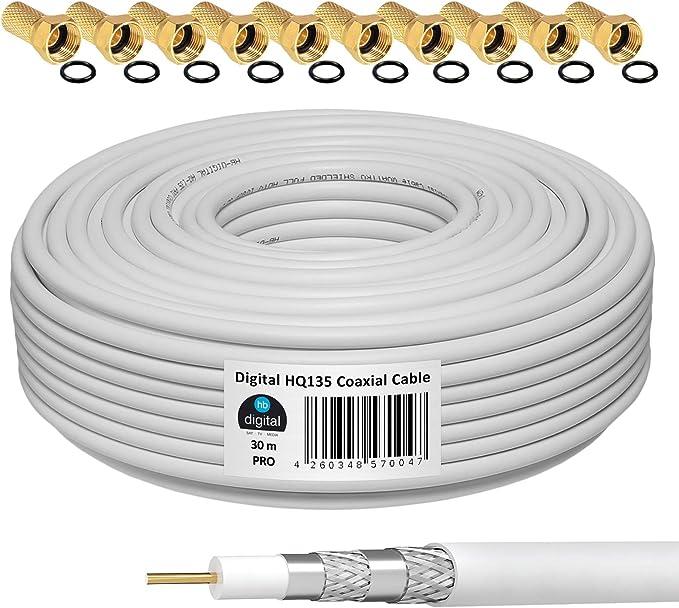 HB-DIGITAL 30m Cable Coaxial HQ-135 Cable de Antena 135dB Cable SAT 8K 4K UHD 4 Veces Apantallado Para Sistemas DVB-S / S2 DVB-C / C2 DVB-T / T2 DAB+ ...