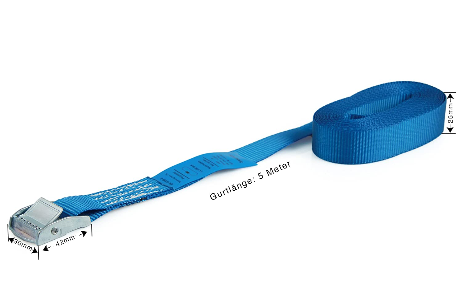 Set of 6 cam buckle tie down straps black according to DIN EN 12195-2 loadable up to 250kg one-piece length 4m width 25mm