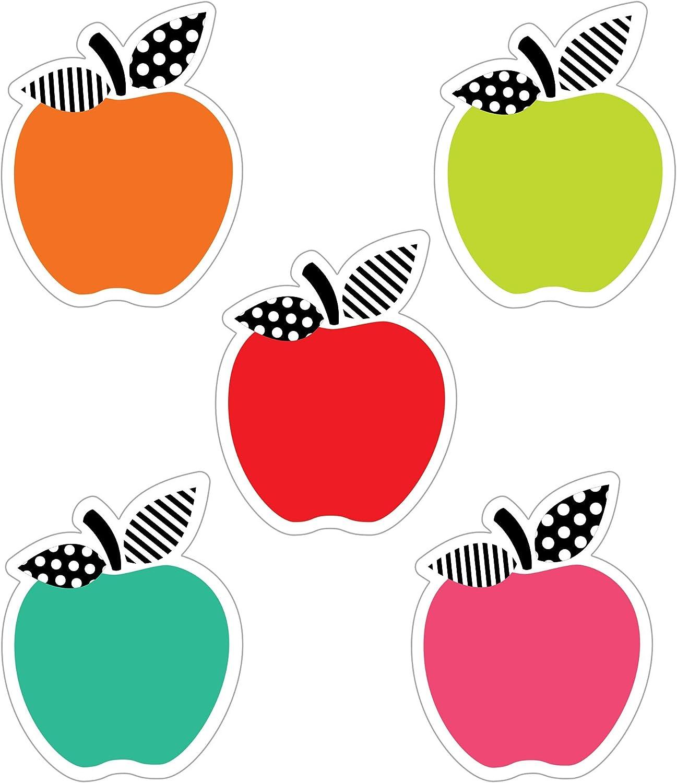 Schoolgirl Style Black, White and Stylish Mini Apple Cutouts—Colorful Red, Orange, Pink, Green, Aqua Apples, Classroom or Homeschool Decorations (36 pc)