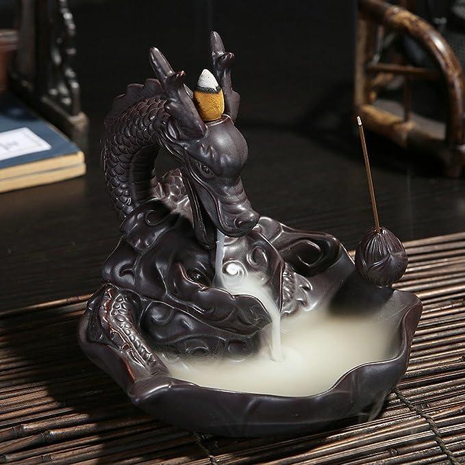 5 opinioni per Portaincenso di ceramica a forma di drago, con effetto flusso inverso del fumo e