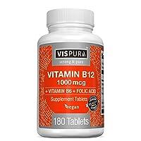 Vitamin B12 1000 mcg Methylcobalamin + B6/Folic Acid = Best Supplement to Increase...