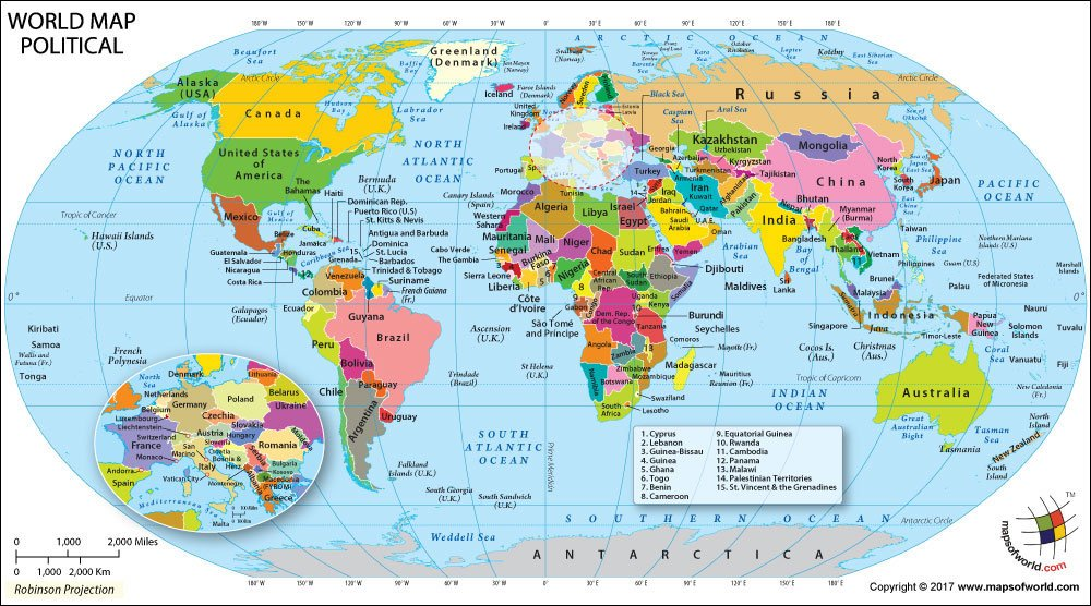 tropic of cancer world map Political Map Of World Vinyl 36 W X 22 H Amazon In Office