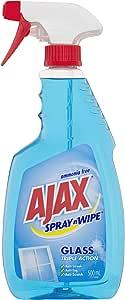 Ajax Spray n Wipe Anti-streak Anti-fog Anti-scratch Triple Action Glass Cleaner Trigger, 500 Milliliter