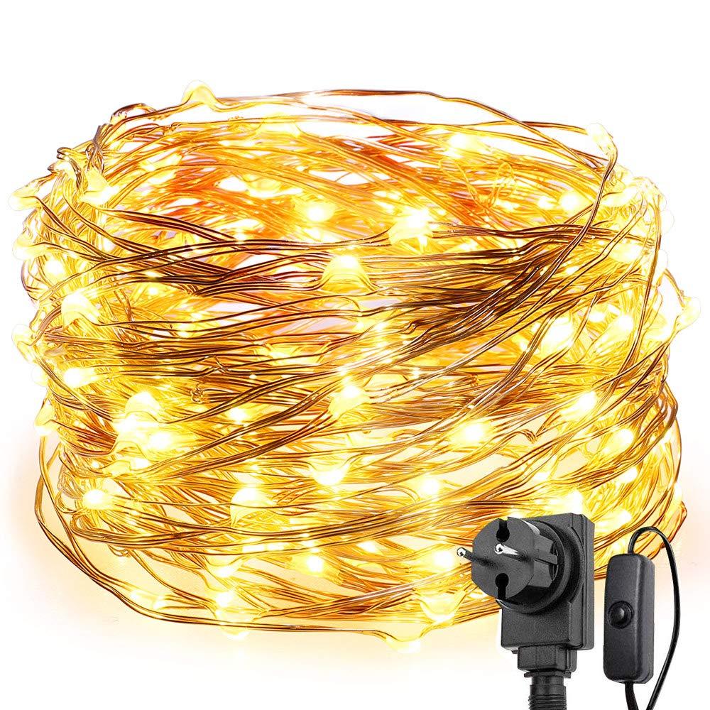 LE Stringa luminosa 22m, 200 LED in Rame Impermeabile e Immergibile IP65 Modellabile Bianco Caldo Per decorazioni Feste Alberi di Natale, San Valentino Lighting EVER