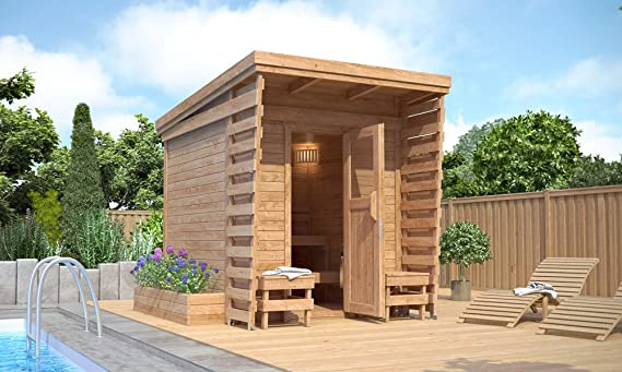 Isidor cabina de sauna Sauna de exterior 2 x 2 m madera maciza Pult techo: Amazon.es: Jardín