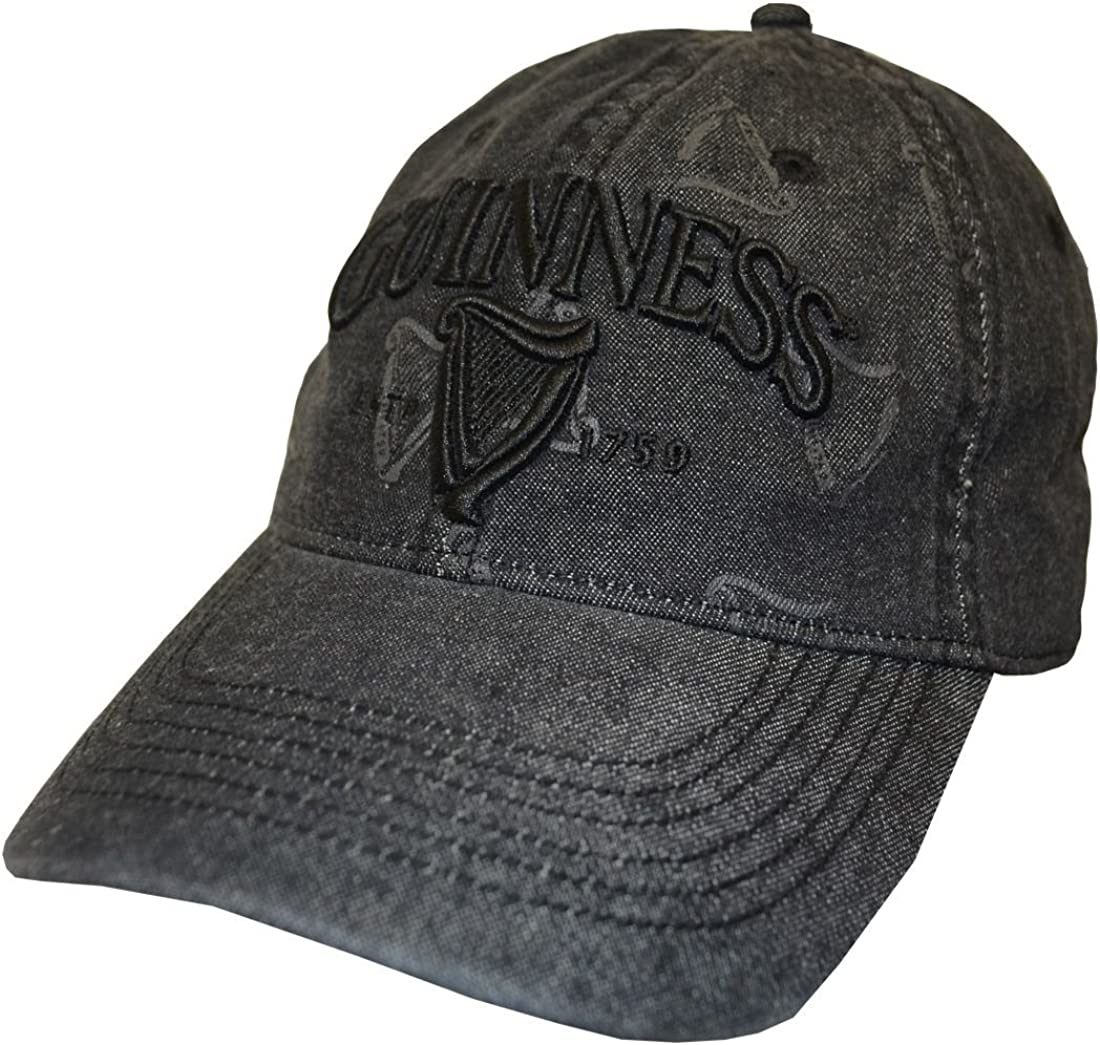 Guinness Black Distressed 3D Harp Baseball Cap
