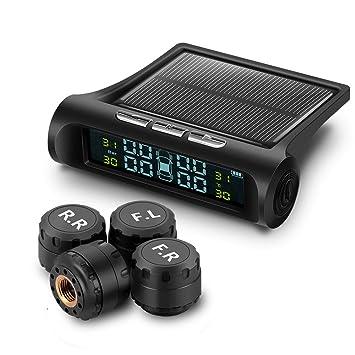 DEBEME Sistema de Alarma de presión de neumáticos de Coche con energía Solar/Recargable, Pantalla LCD TPMS para Coche, 4 sensores externos, Alarma de ...
