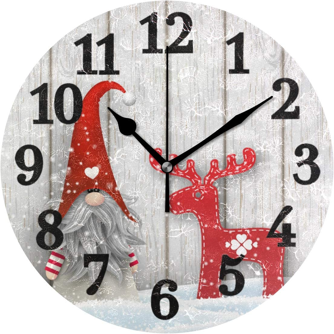 AHOMY Wall Clock Silent Non Ticking Christmas Gnome Wooden Winter Snowflake 10 Inch Quality Quartz Battery Operated Round Easy to Read Clock