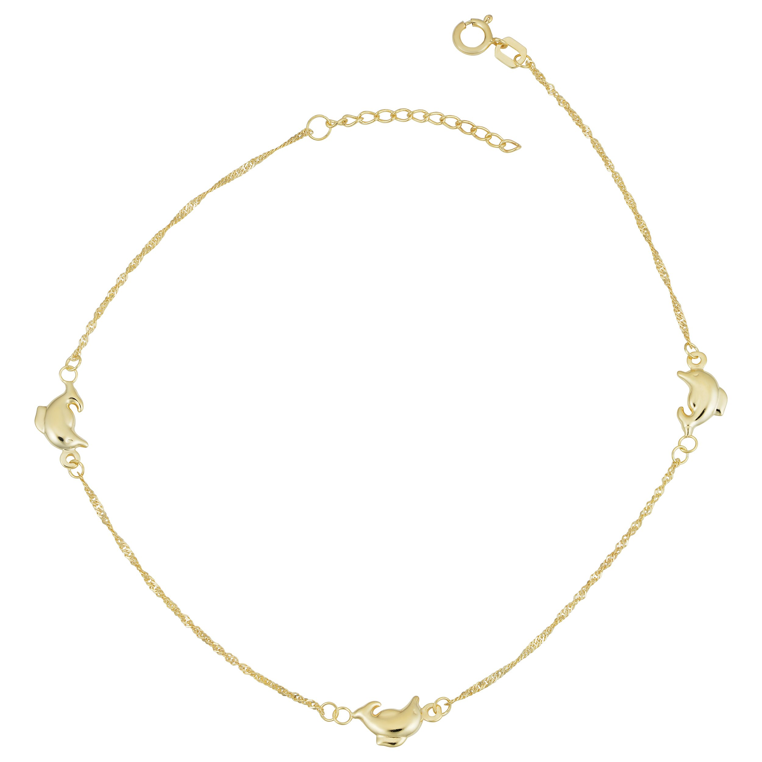 Kooljewelry 14k Yellow Gold Dolphin Station Anklet (adjusts from 9'' - 10'')