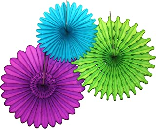 product image for Devra Party 3-Piece Tissue Paper Fans, Peacock, 13-18 Inch
